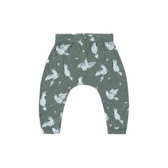 Super soft slouch pant with an all - over 'cockatoo' print. Color: Rainforest Made of cotton slub jersey Coordinating tank top available. In China, T Bar Shoes, Kid Closet, Jumpsuit Pattern, Baby Pants, Modern Kids, Children's Boutique, Clothing Labels, Cockatoo