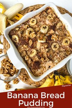 A delicious, easy homemade Banana Bread Pudding recipe made with banana bread, walnuts, and sliced bananas in a creamy custard sauce. A great Southern soul food dessert. #breadpudding #bananabread #easybreadpudding Banana Recipes, Tart Recipes, Dessert Recipes, Vegan Recipes Easy, Cheesecake Recipes, Cupcake Recipes, Cookie Recipes, Amazing Recipes, Delicious Recipes