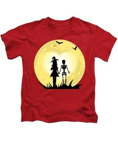Romantic Halloween Witch And Skeleton T-shirt - Kids T-Shirt