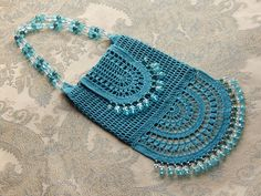 Turquoise bag, crocheted and beaded, By Dawn Holbrook