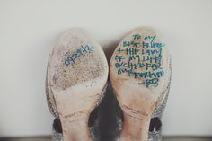 surprise message from the groom on the bride's wedding shoes