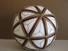 chocolate - hand embroidered thread ball - japanese temari by julieandco #ball #japanese #temari