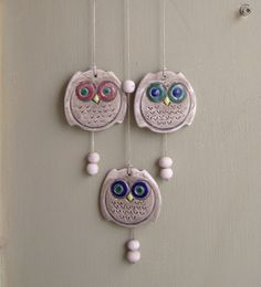 Owls wind bell Vintage ceramic and wood wind bell by MeshuMaSH, $18.00