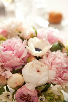 Peonies and anemones... great soft, subtle colors... reception wedding flowers,  wedding decor, wedding flower centerpiece, wedding flower arrangement, add pic source on comment and we will update it. www.myfloweraffair.com can create this beautiful wedding flower look.