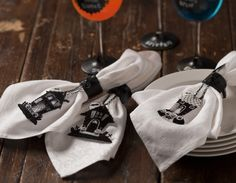shrink your own spooky drawings to create these haunted halloween napkin rings