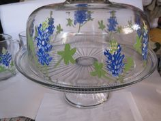 hand painted bluebonnet cake plate