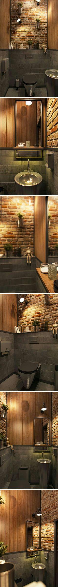 Banheiro | Bathroom | Lavabo | rustico com tijolo aparente