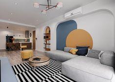 Home Room Design, Home Interior Design, Interior Architecture, House Design, Yellow Interior, Memphis Design, Accent Decor, Living Spaces, Living Room