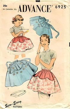 f78ae917d2 1950s Advance 6925 Vintage Sewing Pattern Misses Girls Mother Daughter Half  Aprons