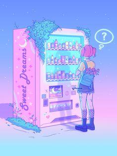 """Dream Machine"" by u/grimroseart Arte Do Kawaii, Kawaii Art, Anime Scenery Wallpaper, Aesthetic Pastel Wallpaper, Animes Wallpapers, Cute Wallpapers, Wallpapers Android, Aesthetic Art, Aesthetic Anime"