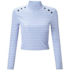 Miss Selfridge PETITE Blue Button Roll Neck T-Shirt (£12) ❤ liked on Polyvore  featuring tops 3851aeb38