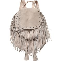 This unique backpack is made in a high quality leather with Western inspired fringes and studs Fully lined. Inner zip pocket. Two inner pockets. Draw string cl…
