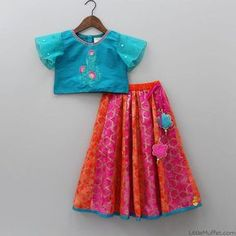 Pre Order: Blue Top With Colourful Lehenga Kids Frocks Design, Baby Frocks Designs, Kids Lehanga Design, Lehanga For Kids, Kids Indian Wear, Kids Ethnic Wear, Kids Dress Wear, Kids Gown, Frocks For Girls