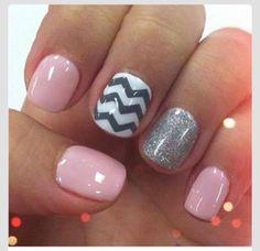 Pink grey white zig zag & glitter