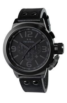TW Steel Leather Strap Chronograph Watch $625