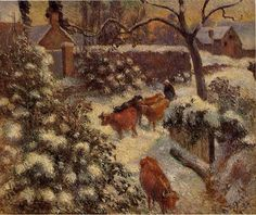 Snow Effect in Montfoucault - Camille Pissarro