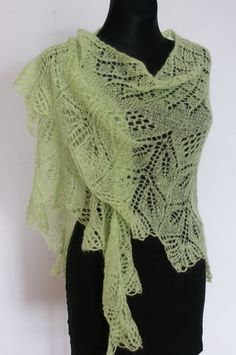 Green Hand Knitted Lace Shawl Triangular by AnazieArtDesign