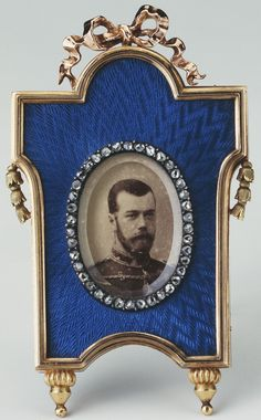 """longliveroyalty: """"Faberge frame with photograph of Tsar Nicholas II of Russia. 1900. """""""