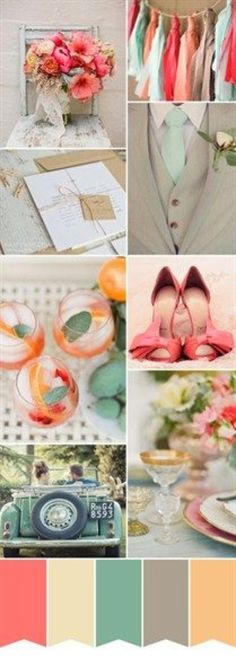 Great wedding color scheme! peach... ivory... teal... gray... pastel.... found your wedding idea? now order your favors to match!!! wedding photo ideas ~ love your wedding day! Create your themed wedding favors at dasweetzpot.com/