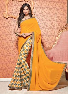 You can be bound to make a powerful fashion statement with this multi colour georgette designer saree. Beautified with jlace and print work all synchronized effectively with all the trend and design o...