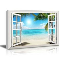 """Canvas Print Wall Art - Window Frame Style Wall Decor - Beautiful Tropical Beach with White Sand, Clear Sea and Palm Trees Giclee Print Gallery Wrap Modern Home Decor - 24"""" x 36"""""""