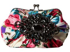 Mary Frances White Floral W/black Rhinestone Beaded Brooch Convertible Clutch Bag  - Handbag