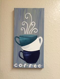 Items similar to Coffee Mugs Painting on Etsy Tias Happy Place Simple Canvas Paintings, Easy Canvas Painting, Diy Canvas Art, Diy Painting, Coffee Painting Canvas, Canvas Painting Designs, Pallet Painting, Canvas Crafts, Easy Paintings