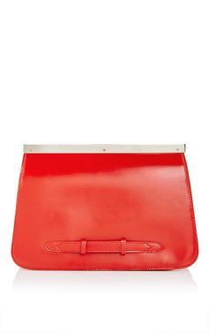 Calf Leather Zig Zag Striped Clutch by ROCHAS Now Available on Moda Operandi