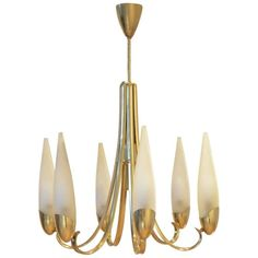Mid-Century Italian Design, Brass and Glass Chandelier Fontana Arte Style | From a unique collection of antique and modern chandeliers-pendant-lights at https://www.1stdibs.com/furniture/lighting/chandeliers-pendant-lights/