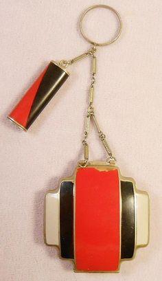 Art deco enamel compact  www.vintageclothin.com