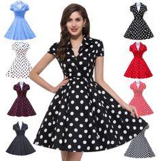 NEW-Vintage-50s-Style-Women-Rockabilly-Polka-Dots-Pin-up-Dress-Party-Swing-Dress