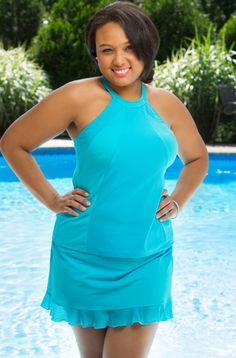 Women's Plus Size Swimwear - Fit 4U Hi Neck Mesh Inset Ruffled Skirtini Always for Me  Price:$29.00 In Stock