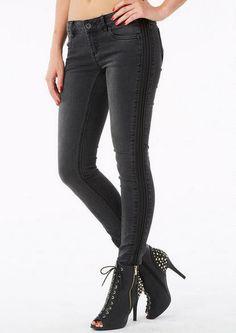 Jou Jou Pleather Trim Skinny Jean - View All Jeans - Jeans - Alloy Apparel