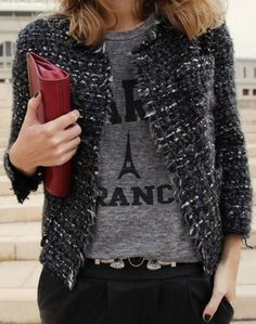 I've always liked T-shirts or sweatshirts mixed with something dressy! Paris Tee III by MyDailyStyle