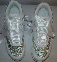 These custom crystal nike air max with white satin ribbon is so cool for  prom 6b3c5e0719