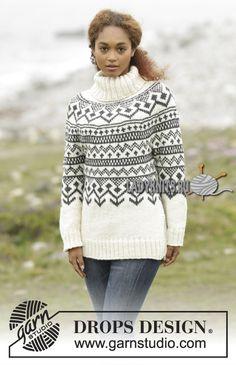 """Вязаный спицами красивый жаккардовый свитер """"Черный лед"""""""