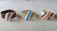 Dear Diamond Ring Beading Tutorial by (with superduo beads) Diy Beaded Rings, Diy Rings, Beaded Bracelets, Seed Bead Jewelry, Bead Earrings, Handmade Rings, Handmade Jewelry, Ring Tutorial, Beaded Jewelry Patterns