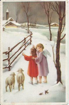 Engelen met lammetjes   Vintage ansichtkaarten   ZomaarVintage