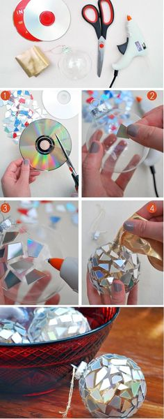 Spiegelkugeln aus alten CD's auf Christbaumkugeln  Good idea...in garden to keep birds away.  DIY: Mosaic Ornaments from CDs