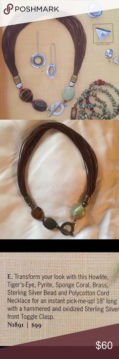 """Silpada Necklace Beautiful necklace for an instant pop!  Howlite, Tiger's Eye, Pyrite, Sponge Coral, Brass on Polycotton Cord.      18"""" long only worn once!! Silpada Jewelry Necklaces"""