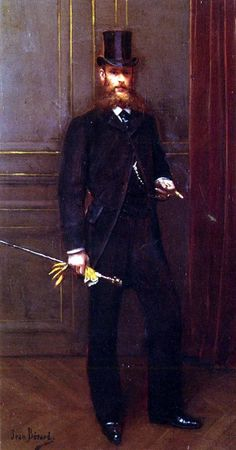 Portrait of a Dandy (Portrait d'un Homme Elegant) c. 1900 by Jean Béraud (January 12, 1849 – October 4, 1935)...yellow kid gloves...