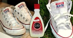 How to clean and whiten your white Converse or canvas shoes to make them look new again. White Converse, Converse All Star, Converse Shoes, How To Whiten Shoes, Clean Dishwasher, Girl Tips, Chuck Taylor Sneakers, Cleaning Hacks, Diy Clothes