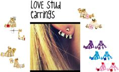 """Love Stud Ear Hugging Earrings"" by bodycandy on Polyvore"