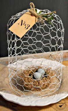 Homeroad-White Chicken Wire Cloche