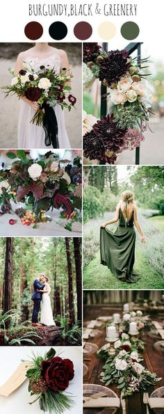 romantic and moody fall woodland wedding colors, black, hunter green, and burgundy red