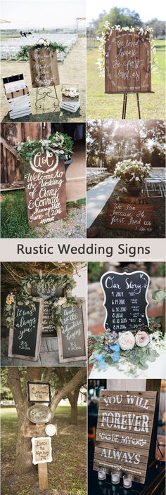 Rustic country wedding signs & ideas / http://www.deerpearlflowers.com/rustic-wedding-details-and-ideas/