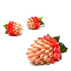 Vintage Strawberry Earrings Sea Shells Pink Brooch Set