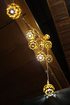 Luxury Gold Morocon Pattern Cut-Out Metal String by StudioKaeth White Led Lights, Led String Lights, Ceiling Lights, Diwali Decorations, Ball Lights, Pattern Cutting, Lighting Design, Light Bulb, Room Decor