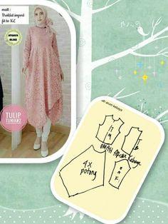 Baju dan polanya Dress Sewing Patterns, Sewing Patterns Free, Clothing Patterns, Pattern Draping, Model Kebaya, Sewing Blouses, Tunic Pattern, Abaya Pattern, Diy Sewing Projects