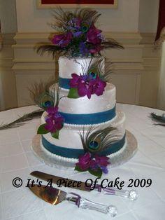 Peacock Lover's Delight Wedding Cake